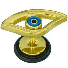 Pendiente joya, Barra acero quirúrgico (Grosor: 1,2mm. Largo: 6mm)  Ojo egipcio azul y dorado. Ideal para tu piercing de oreja: lóbulo o hélix. Horus. 3.61