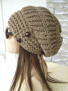 Barley Brown Slouchy Hat Hand Knit Hat Womens hat  Winter by Ebruk, $40.00