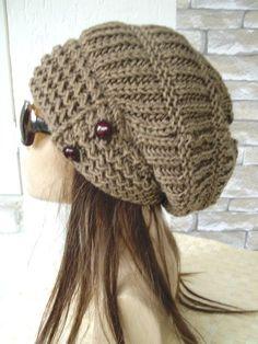 Barley Brown Slouchy Hat Hand Knit Hat Womens hat  Winter by Ebruk, $40.00
