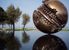 Arnaldo Pomodoro  Bronze sculpture on the seafront in Pesaro, Italy