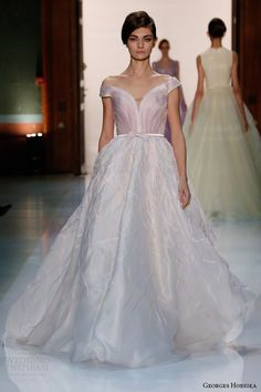 Georges Hobeika 2014 HC SS: princess dress with off-the-shoulder sleeves.
