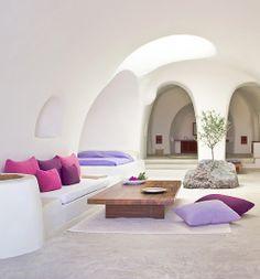 Perivolas Traditional Houses in Santorini, Greece: luxury vaulted suites half-dug into the cliffside. i-escape.com