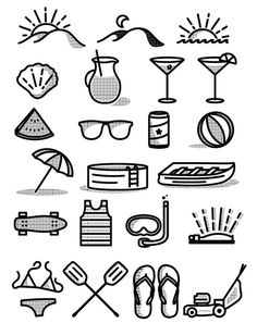Free Summer Icon Set - Free Vector Site | Download Free Vector Art, Graphics