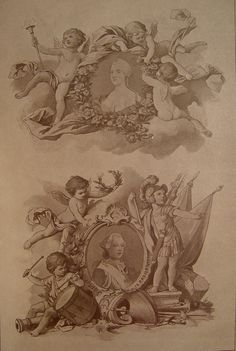 1890s Renaissance Revival lithograph of ornamentations with cherubs or putti. Published by Julius Hoffmann, Germany from one of his decorative folios. Unframed. Age toning, discoloration along margins