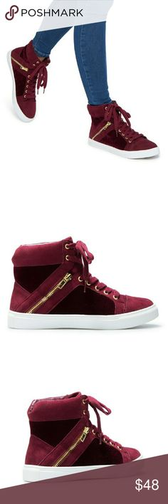 "Adorable High Top Shoes**HOSTEST PIC.🎈 Brand new, and still sealed in the box. I have 2 many shoes, and really need to sell some. Its Faux-suede & velvet  Platform is 1"" high. Has adjustable front laces. This would be cute to wear, with just about anything. Shoedazzle Shoes Athletic Shoes"