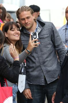 Charlie Hunnam greets his fans before the Sons Of Anarchy panel at Comic Con in San Diego.