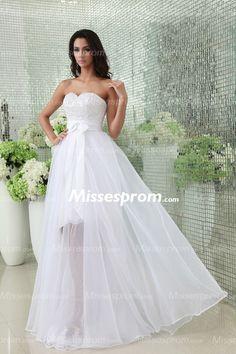 Princess Appliqued Sweetheart Empire Waist White Wedding Dress