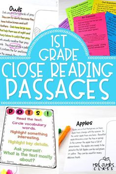 Simplify close reading in first grade with these close reading passages. Each first grade close reading passage includes a topic that students will find interesting, as well as question sheets that can help guide students through their close reading.