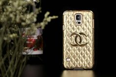 Chanel Samsung galaxy S5 Leather Case covers Gold Free Shipping - Deluxeiphonecase.com