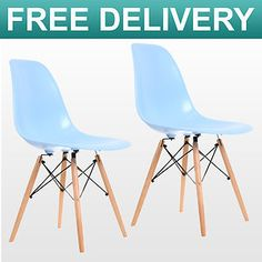 2 x CHARLES EAMES INSPIRED RETRO BLUE PLASTIC DSW EIFFEL DINING LOUNGE CHAIR NEW | eBay