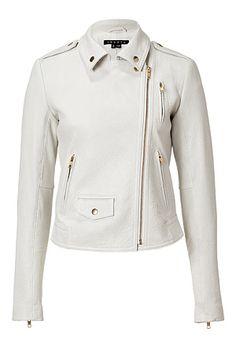 Theory, white leather Elenian jacket