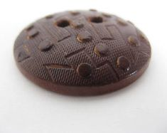 Large wooden brown button; vintage,  impressed wood, handmade, ± 3,5 cm, sewing, knitting, crochet