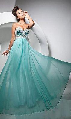 A-Line Sweetheart Sleeveless Blue Chiffon Evening Dress ykdress5159