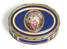 A gold and enamel snuff box, Hanau, circa 1780-85 of oval form, the lid inset with an enamel medallion painted with Hercules and Omphale within a rope and pellet frame, on a translucent blue ground, white enamel borders, Paris prestige marks including maker's mark FS (les Frères Souchay) in script, charge mark of Julien Alaterre and discharge mark of Julien Berthe (19ct Hanau standard mark)