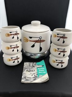 Vintage WEST BEND Stoneware Bean Pot With 6 Cups, Warmer, Cord, Recipe Book | eBay