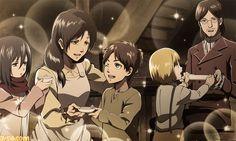 Shingeki no kyojin Carla, Grisha, Mikasa, Eren & Armin
