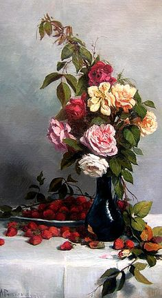 A. Philippon  Still Life with Roses and Strawberries  1900