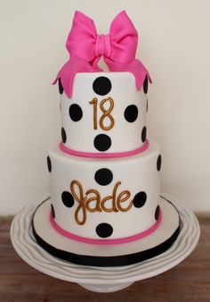 Kate Spade inspired birthday cake pink black & white and gold polka dots and bow Birthday Cake For Him, Birthday Party Snacks, Birthday Cakes For Women, Cool Birthday Cakes, Birthday Crafts, Birthday Gifts For Girls, Birthday Cupcakes, Girl Birthday, Birthday Wishes