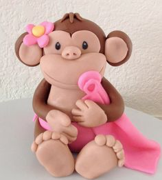 Fondant Monkey Cake topper, edible, baby shower, birthday girl Check out the website to see Fondant Monkey, Fondant Girl, Monkey Cakes, Fondant Cake Toppers, Cupcake Cakes, Fondant Animals, Modeling Chocolate, Fondant Tutorial, Sugar Craft