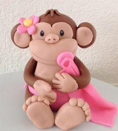 Fondant Monkey Cake topper, edible, baby shower, birthday girl