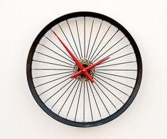 Recycled bicycle wheel clock by pixelthis on etsy