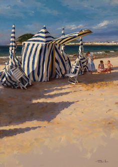 Ricardo Sanz – Tarde de playa Óleo sobre lienzo. 162×114 cms.