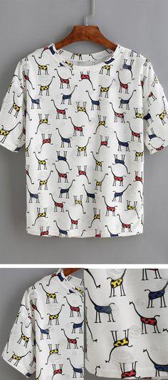 White Giraffe Print T-Shirt , ONLY US$9.89 FROM SHEIN