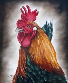 Artist Ilse Kleyn : Rooster Head Painting  www.artofkleyn.com