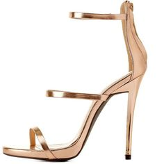 Shoes > Sandals > Heel Sandals - Three glinting metallic straps create this marvelously minimalist single sole sandal.  A shiny faux metal stiletto heel …