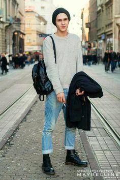 dr martens doc martnes beanie sweater sweatshirt jeans denim fashion men tumblr style leather boots and bag coat jacket.