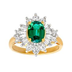 53073 jewelry 2 1/3 ct Created Emerald & Created Sapphire Ring 14K Gold over Sterling Silver  BUY IT NOW ONLY  $62.0 2 1/3 ct Created Emerald & Created Sapphire Ring 14K Gold over Sterling Silver...