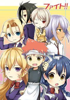 Shokugeki no Souma | Yukihira Souma, Nakiri Erina, Tadokoro Megumi, Aldini Takumi, Hayama Akira, Nakiri Alice, and Kurokiba Ryou