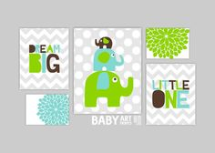 Nursery art prints, Set of 5, Family, Elephants, Tree, Love, You are my sunshine, Lime green, Pale Turquoise, Dark Brown, Grey ( MS104 ) on Etsy, $49.00