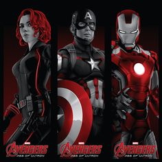 """""""Avengers: Matched Numbered Set of 3"""" by Tracie Ching"""
