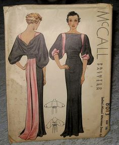 Mid 1930's McCall's evening dress pattern.  I would so wear this.
