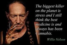 The biggest killer on the planet is stress and I think the best medicine is and always has been cannabis ~ Willie Nelson Hell yeah - you go Willie Weed Quotes, Life Quotes, Stoner Quotes, Ganja, Wizz Khalifa, Bob Marley, Puff And Pass, Smoke Weed, Willie Nelson