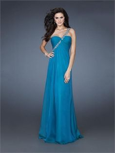 One Shoulder Strapless Ruched Bodice Beaded Floor Length Chiffon Prom Dress PD11316 www.dresseshouse.co.uk $109.0000