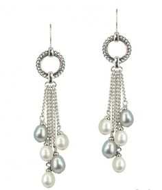Sterling Silver 7-8mm White and Gray Freshwater Cultured Pearl Dangle Earrings ~ Kuhn's Jewelers ~ Fine Jewelry and Engagement Rings in Salisbury, Maryland ~ Est. 1853
