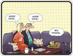 Uli Stein unsere Katze - Blech-Schild Spruch - Fun-Schilder - 22x17