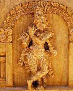 Krishna playing a flute, depicted in wood carving  Abode Vrindavan, Gokul- , Dwarka Mantra Hare Krishna Hare Krishna Krishna Krishna Hare Hare Weapon Sudarshana Chakra Consort Radha, Rukmini,- Satyabhama,Jambavati, Satya, Lakshmana, Kalindi, Bhadra, Mitravinda. Mount Garuda Texts Bha- gavata Purana, Bhagavad Gita, Mahabharata