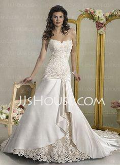 Wedding Dresses - $231.99 - Amazing A-Line/Princess Sweetheart Chapel Train Satin Wedding Dresses With Ruffle Beadwork (002004539) http://jjshouse.com/A-line-Princess-Sweetheart-Chapel-Train-Satin-Wedding-Dresses-With-Ruffle-Beadwork-002004539-g4539