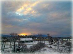 Snowplow at sunrise...Middlebury, VT by Brenda Bergeron. Feb 2013
