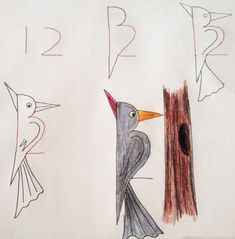 Learn to draw the children. The greatest drawings that start with numbers … - Painting & Drawing Art Drawings For Kids, Bird Drawings, Drawing For Kids, Easy Drawings, Animal Drawings, Art For Kids, Drawing Ideas, Drawing Birds, Number Drawing