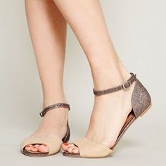nice Shoespie Sequin Peep Toe Line-Style Buckle Heel Covering Flat Sandals Flat Shoes, Flat Sandals, Shoes Sandals, Pumps Heels, Stiletto Heels, Christian Louboutin, Peep Toe, Vogue, Ankle Strap Flats