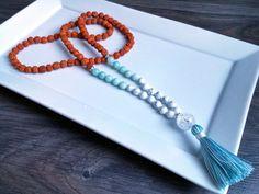 Mala Beads Rudraksha Seeds Amazonite White by AumShantiDesigns