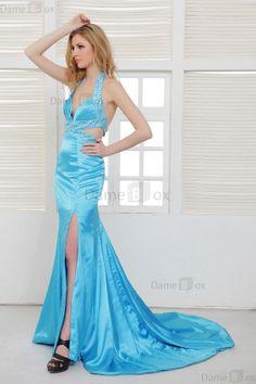Meerjungfrau Stil Perlenbesetztes rückenfreies Sweep Zug Ballkleid mit Falte Mieder - Damebox.com