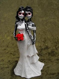 Day of the Dead Cake Topper Two Women | dnacreations - Wedding on ArtFire