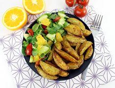Wedges mit Feldsalat und Orangen Dressing