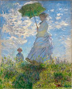 Claude Monet Impressionist Landscape Oil Painting Claude Monet - Woman with a Parasol - Madame Monet Art Print by EnShape - X-Sm Claude Monet, Paintings Famous, Monet Paintings, Famous Impressionist Paintings, Indian Paintings, Abstract Paintings, Painting Art, Landscape Paintings, Impressionist Landscape