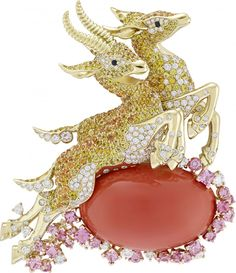 GABRIELLE'S AMAZING FANTASY CLOSET   Van Cleef & Arpels: Diamond and Colored Diamond, Coral 18k Yellow Gold Reindeer Brooch